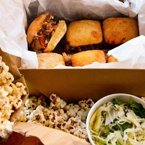 Rocket Pig sliders. BACON popcorn. Coleslaw. One day only. You know you want to. Pre order only, by Saturday at noon. #rocketpignyc #superbowl #sundayfunday #nyc #eeeeeats #smokedpork #sliders #bacon #happiness