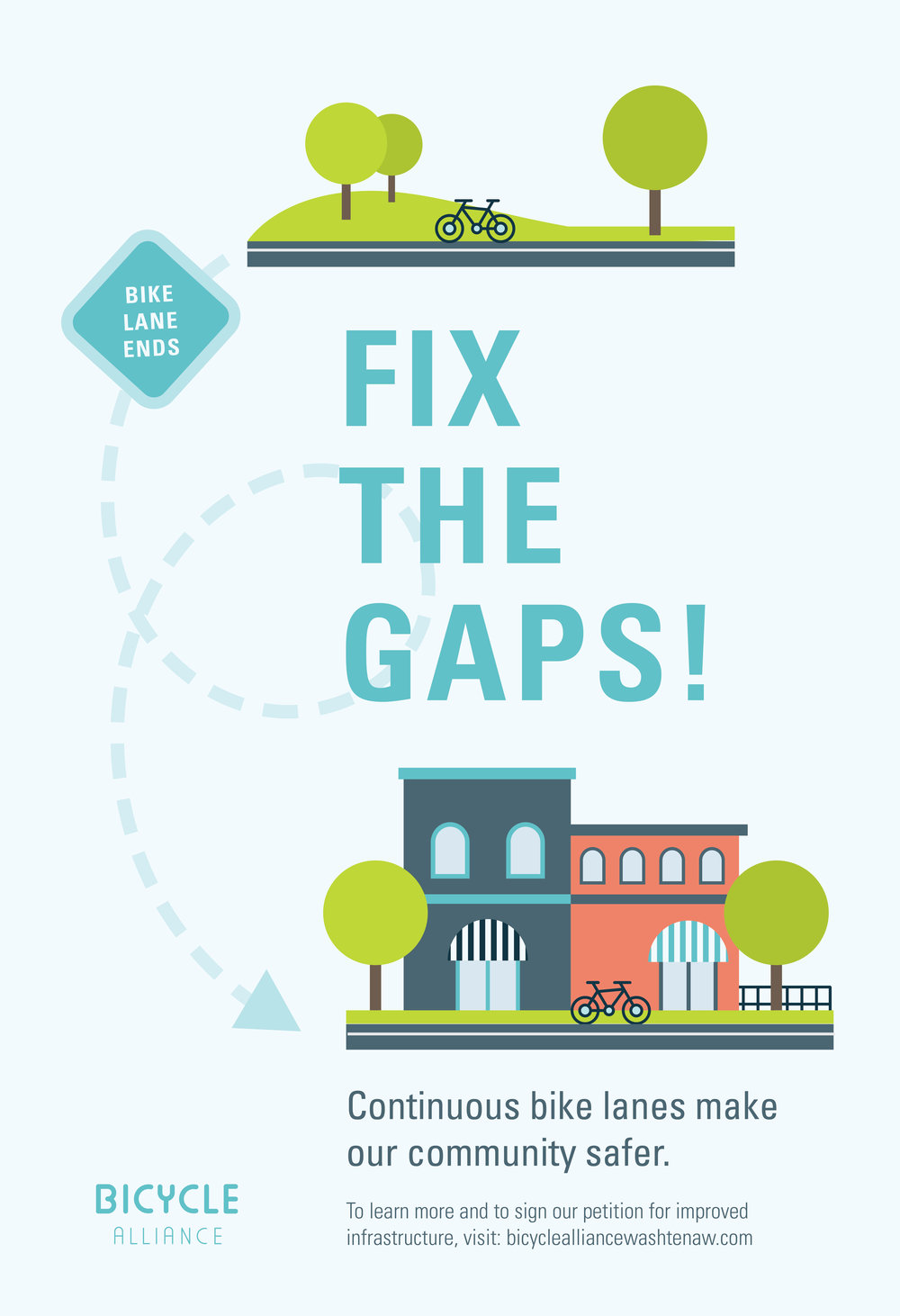 One of the poster concepts, meant to promote policy action to improve bike lane continuity throughout Ann Arbor.