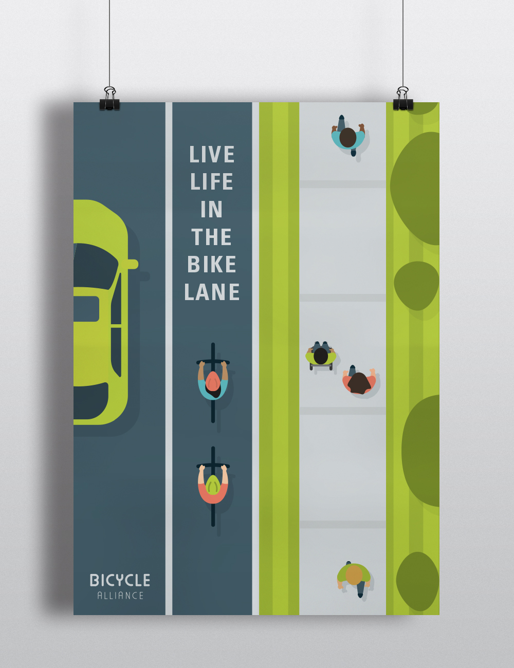 An ethos driven poster meant to appeal to bicyclists.