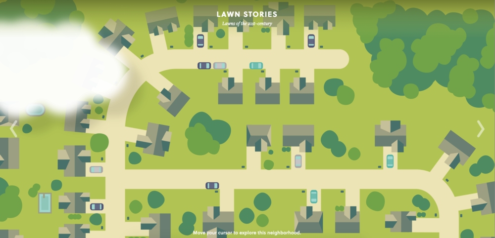 Main directory of lawn stories; hovering reveals names that are clickable links to detailed story.
