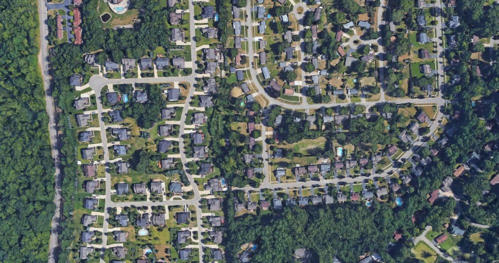 Aerial view of my neighborhood via Google Earth