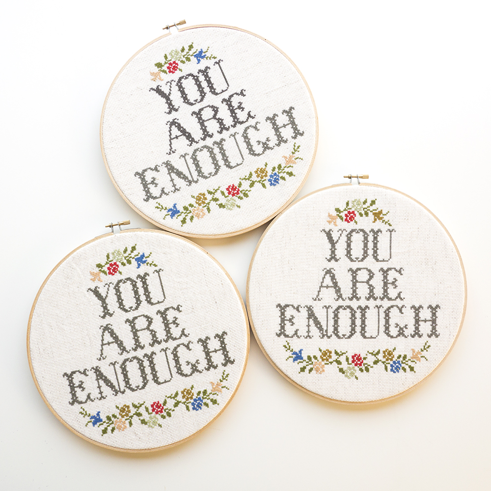 You Are Enough, Framed Cross Stitch