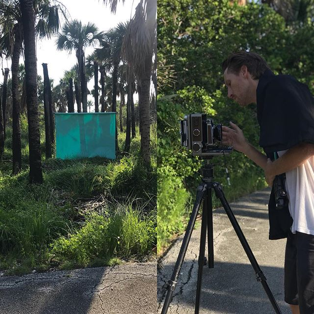 "On location with Momentum artist Ian O Connor and his ""Transcend"" series .Fun day of shooting with a great guy @momentum_fine_art @ianpatrickoconnor #colorfield #fneartphotography #miamjartist #miamibeach #tiffany #yellow #beach #wista #4x5filmphotography"