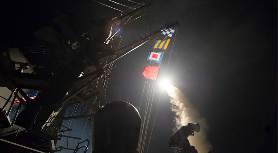 Tomahawk missiles fly from the deck of the USS Ross on Thursday, April 6, aimed at the Syrian air base where planes were used to drop chemical strikes that killed dozens of civilians. Internet Photo