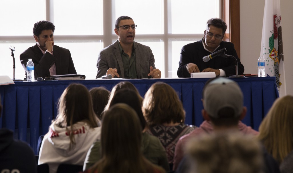 Panelists Azam Nizamuddin, Ahmed Rehab and Saeed Khan criticize anti-Islam policies and rhetoric during a discussion on Tuesday, Sept. 27. (Photo by Stefan Carlson)