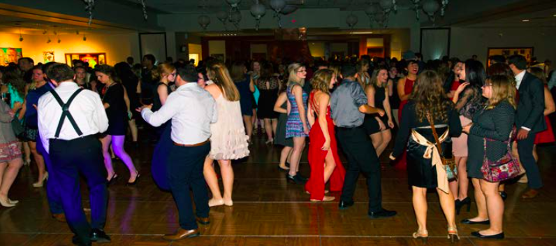 Students take to the dance floor in the Founders Lounge during the Inagural Ball on Staurday Oct. 22. (Photo by Stefan Carlson)