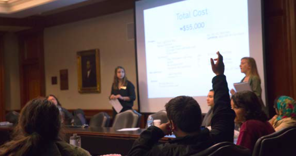 SGA Executive Vice President Emelio Davalos askes a question about the proposed budget for the Roost renovation at the SGA meeting on Thursday, Oct. 13. (Photo by Stefan Carlson)