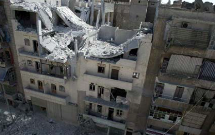 The Syrian city of Aleppo is devastated by mortar fire marking the end of the cesaefire on Saturday, Oct. 22. (Internet Photo)