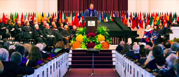 President Troy Van Aken gives his inaugural address to a crowd of alumni, trustees, students and faculty in Hammerschmidt Memorial Chapel on Saturday, Oct. 22. (Photo by Stefan Carlson)
