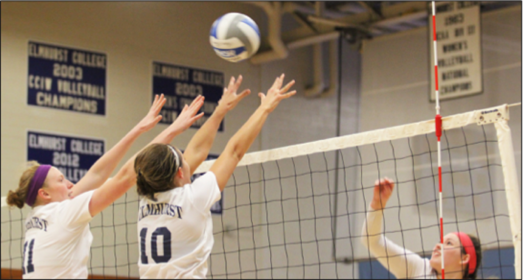 EC volleyball guard rise high to guard against an attack from the opposing team. (File photo)