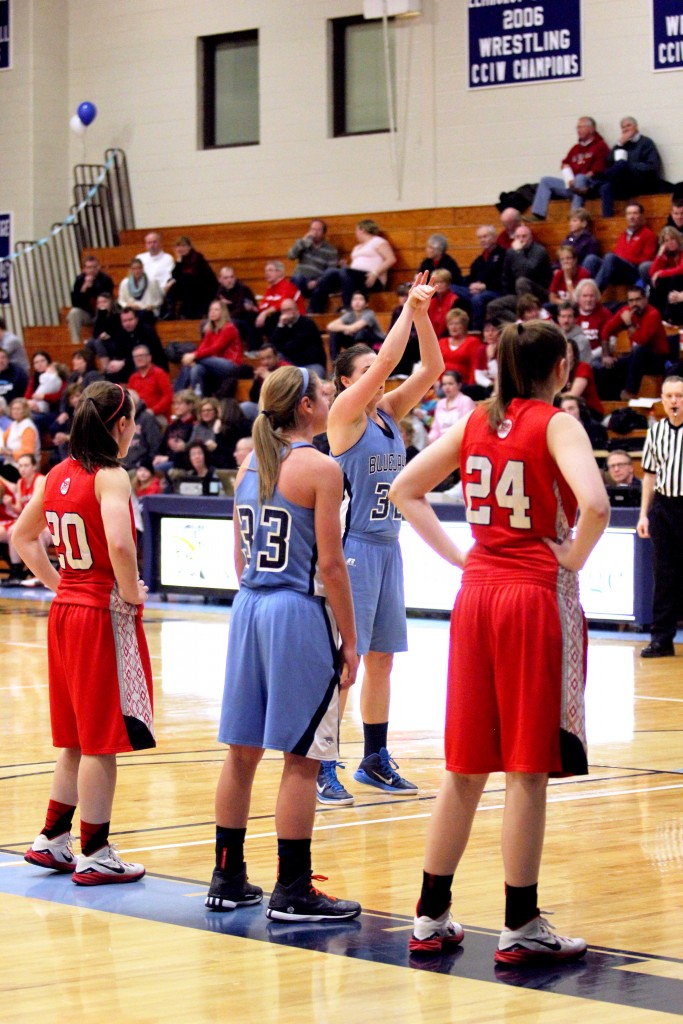 Junior Mikaela Eppard shoots a free throw in a game against North Central College. (File Photo)