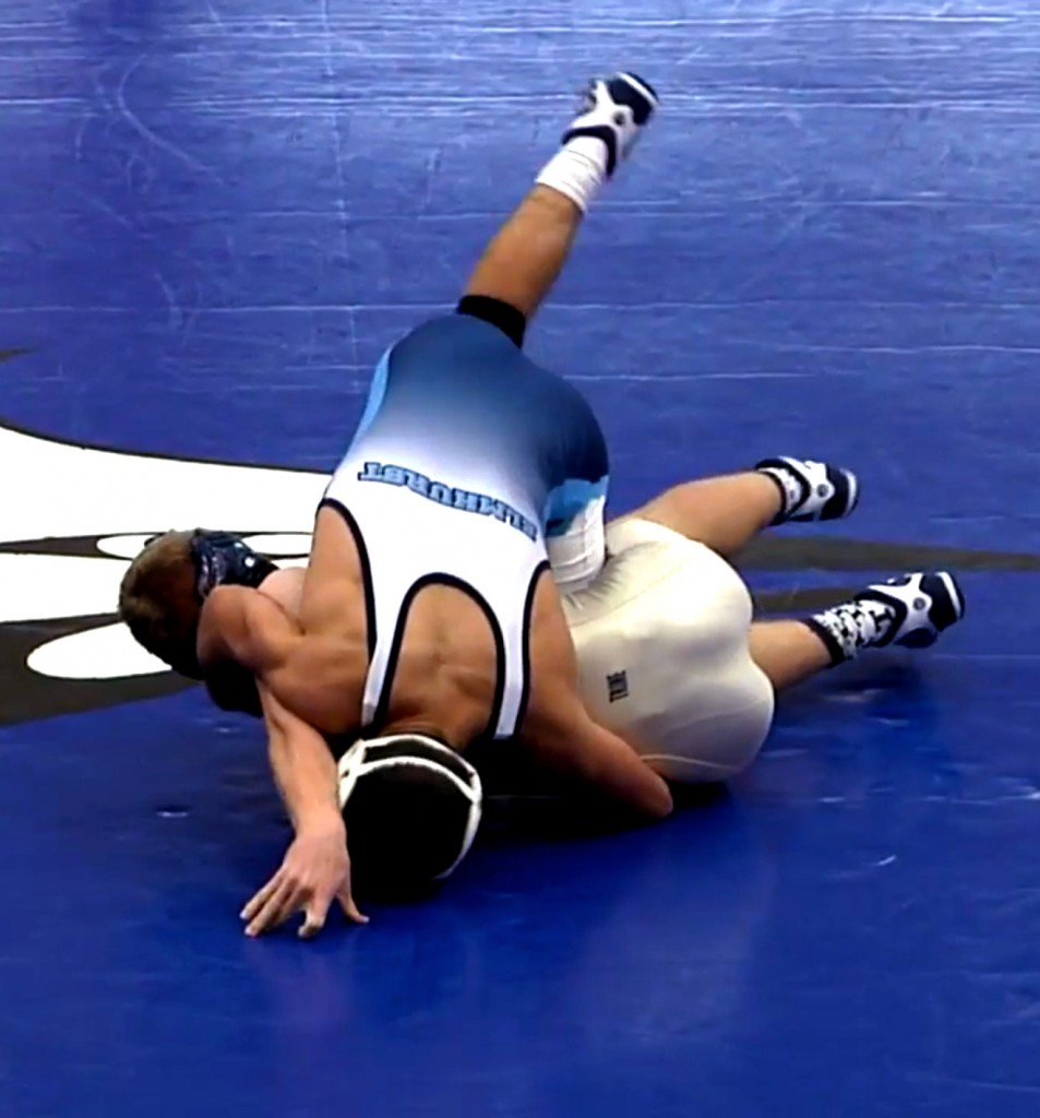 Jared Braun begins to pin an opponent during a match against Trine University. (Internet Photo)