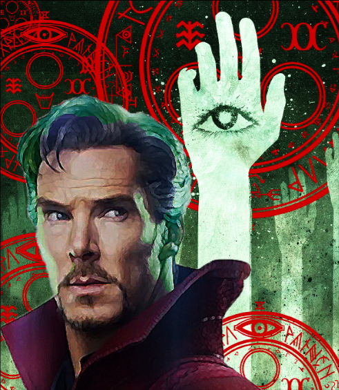 Benedict Cummberbatch plays Doctor Strange, a mystical Marvel superhero in the film by the same name now playing in theaters. (Illustration by Alexandra Ehrler)