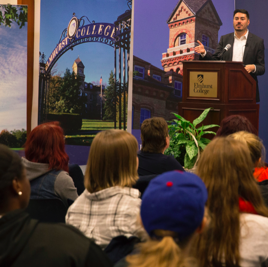 Brian Mustanski details issues concerning sexual and gender minorities in Founder's Lounge on Oct. 26. (Photo by Stefan Carlson)