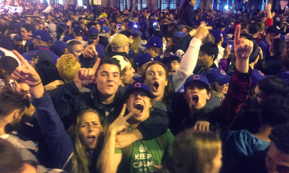 EC students sophomore Bryce Marchetti, sophomore Mac Harden, senior Matthew Westhaver, freshman Noah Monohan and freshman Jake Heil (left to right) celebrate the Chicago Cubs' World Series championship win in Wrigleyville, Chicago on Wednesday, Nov. 2. (Photo courtesy of Matthew Westhaver)