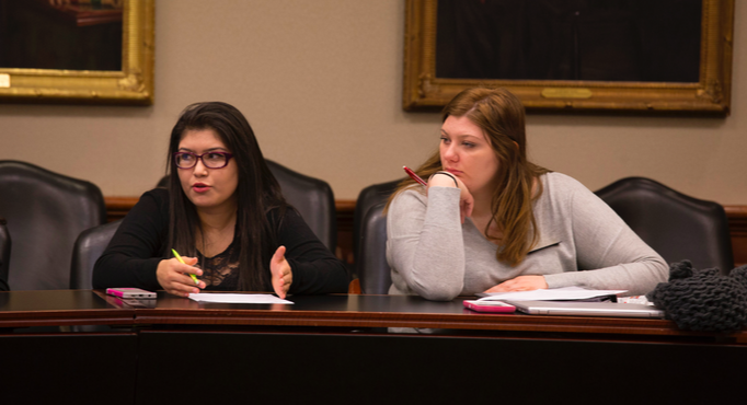 SGA representative Maria Anguiano argues for a change to protected hour at the SGA meeting in the Bloom boardroom on Thursday, Nov. 17. (Photo by Stefan Carlson)