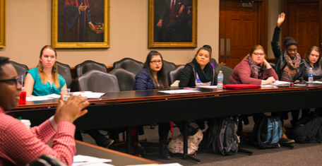 SGA representatives listen and respond to the concerns of about the proposed Witchcraft club at the SGA meeting in the Bloom Board Room on Thursday, Dec. 1 (Photo by Stefan Carlson)