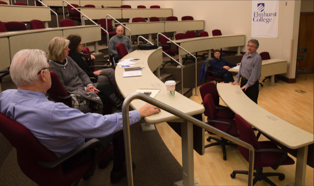 Psycology department chair Thomas Sawyer answers the concerns about the new ECIC tagging system during his presentation of the system in Illinois Hall on Tuesday, Nov. 29 (Photo by Stefan Carlson)