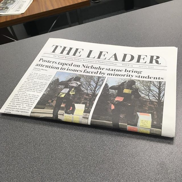 Pick up a copy in the Frick Center!! #elmhurst  #ecleader #theleader #niebuhr