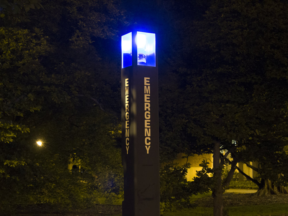 Emergency station near Schiable parking lot. Photo by Kenneth Edison