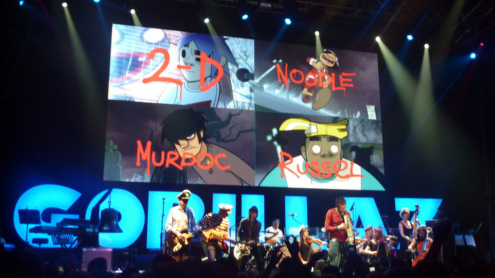 Gorillaz perform on stage as a part of their Demon Days world tour. Internet Photo