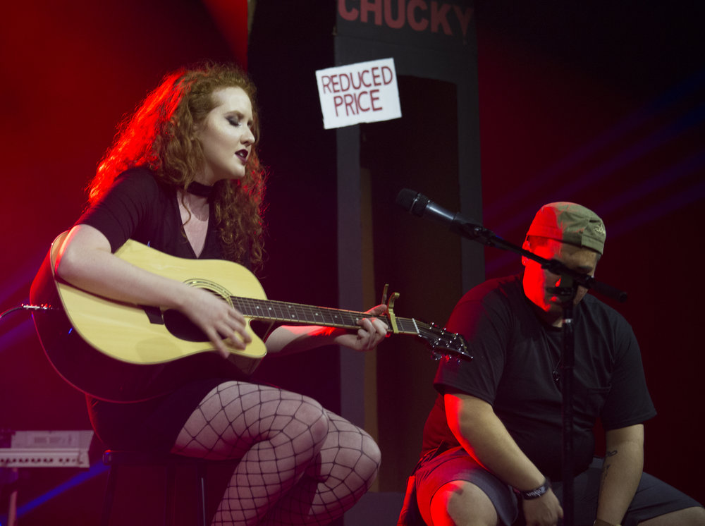 Tara Flatley performed an original song complete with a Chucky doll package. Photo by Stefan Carlson
