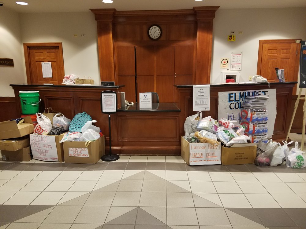 The final collection of donations is gathered in the Frick Centerbefore being sent to Texas to help victims of Hurricane Harvey on Friday, Sept. 8. Photo by Victoria Martin