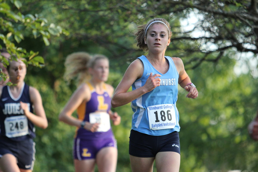 Junior Alaina Nebel runs for EC at the Earlybird Invite at Eldridge Park in Elmhurst.  Photo by Cole Sheeks