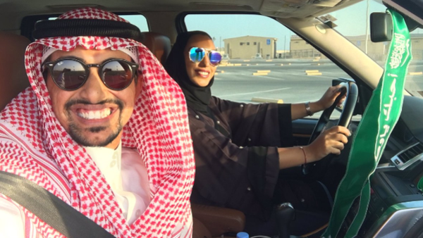 Saudi citizen Faisal BaDughaish tweets out a picture of him and his wife driving on Oct. 6, celebrating Saudi womens' new right to drive. Internet Photo