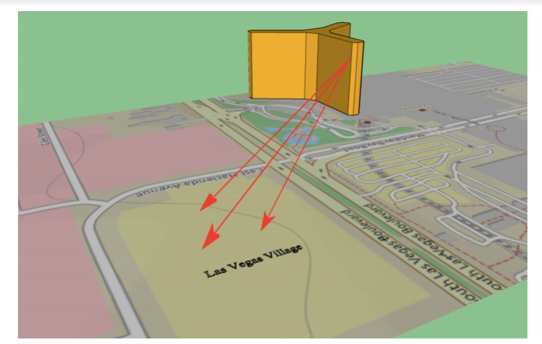 A graphical illustration paths the line of site from shooter Stephen Paddock's hotel room towards a country music concert in Las Vegas.  Internet Photo