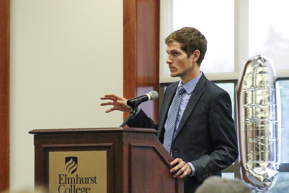 "Ryan Thoreson addresses the shift and prominence of the LGBT movement on a global scale in his lecture ""Transitional LGBT Activism: Working for Sexual Rights Worldwide"" in the Frick Center on Wednesday, Oct. 11.   Photo courtesy of Lauren Altiery"