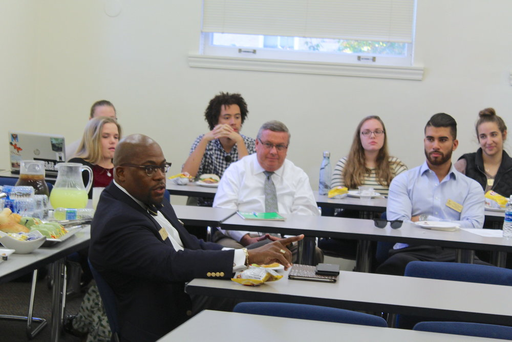 Reverend Bernard Jakes pointed out the changes he has noticed since his return to EC at the SGA meeting on Thursday Oct. 19. Photo by Abby Robb