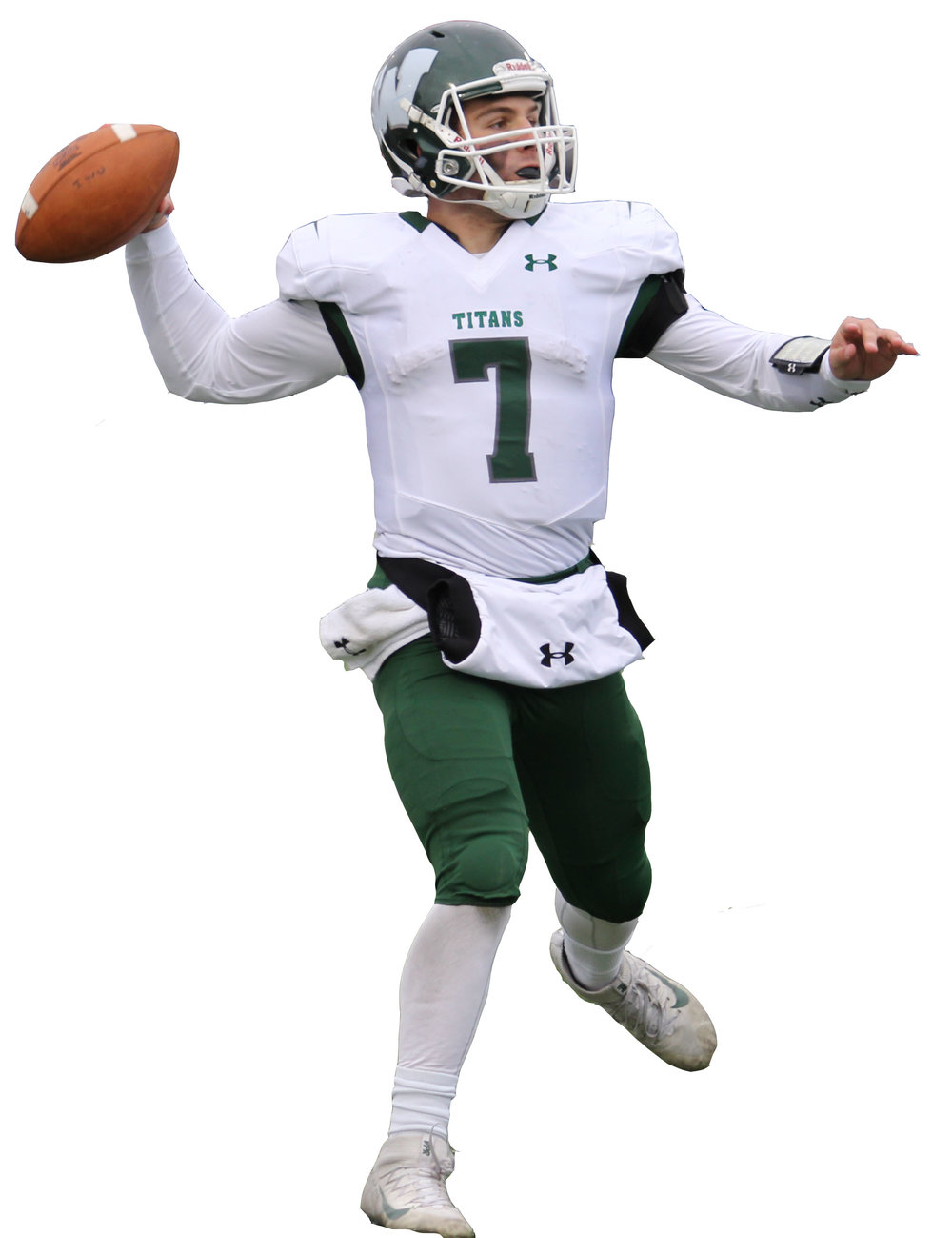 Illinois Wesleyan quarterback Brandon Bauer rolls out to pass against EC. Photo by Cole Sheeks