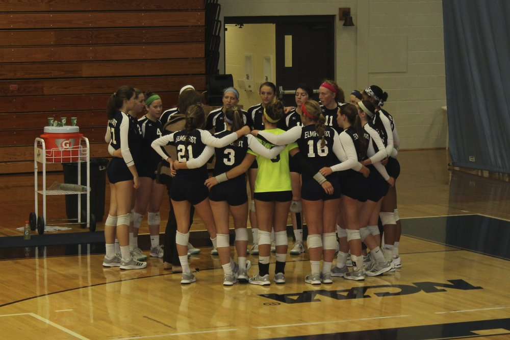 The Bluejays volleyball team prepares for a game at R.A. Faganel Hall. File Photo