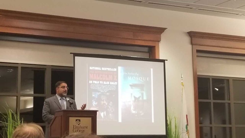"Muslim scholar Hussein Rashid discusses the misconceptions of the Muslim population during the ""The Uncanny Muslim: Real and the Imagined in America"" lecture on Sunday, Oct. 29. Photo by Cheyenne Roper"