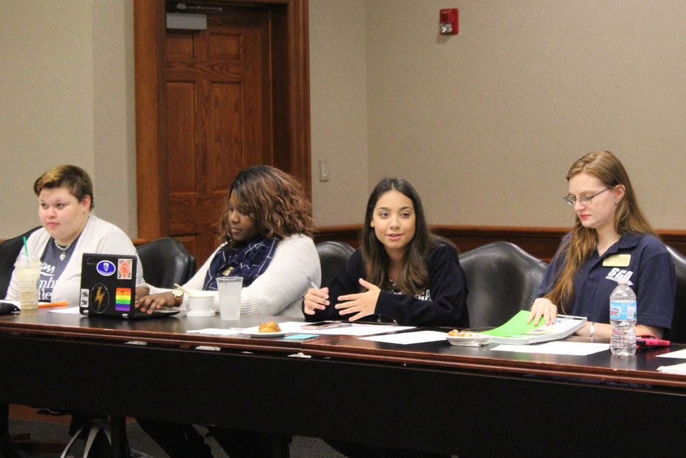 SGA Vice President of Public Relations Bri Uriostegui (left) successfully avoided impeachment after a vote was called on Thursday, Nov. 16.