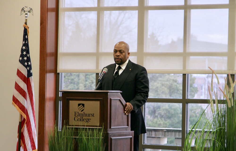 The Rev. L. Bernard Jakes gives his lecture on the importance of Martin Luther King's message in the 21st century on Wednesday, Feb. 21 in the Founders Lounge.  Photo by Matthew Gans