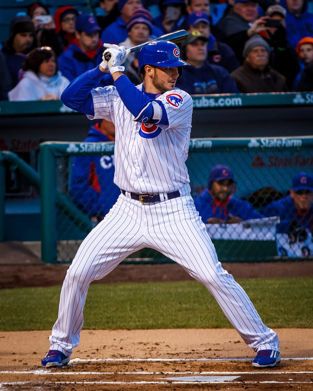 Cubs third baseman Kris Bryant stands at the plate during a game at Wrigley Field.