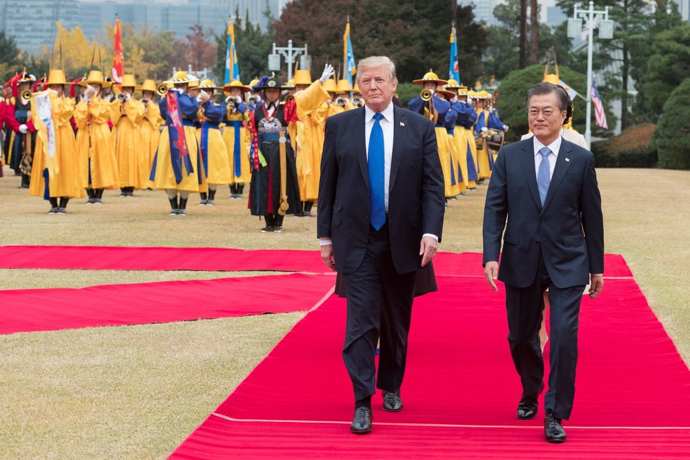 Internet Photo   Donald Trump meets with South Korean president Moon Jae-in in Seoul in 2017.