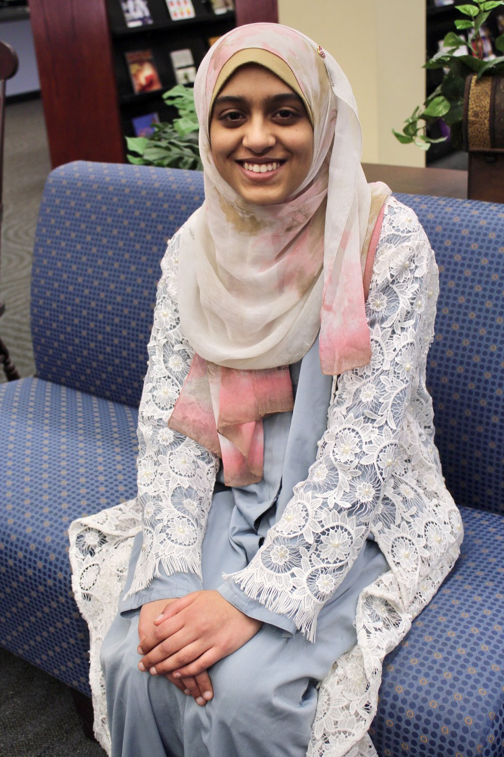 Photo by Abby Robb   EC Freshman Syeda Sameeha is elected to serve as the Editor-in-Chief of The Leader for the 2018-19 school year.