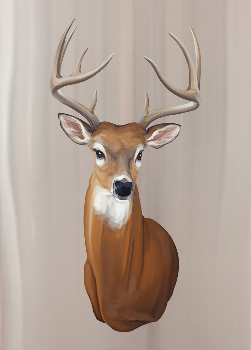 Trophy Deer . Oil on stainless steel, 39in x 28in. $2,800