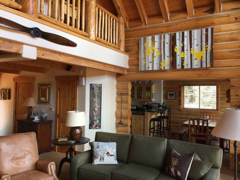 Autumn Aspens  diptych high up in this contemporary mountain home.