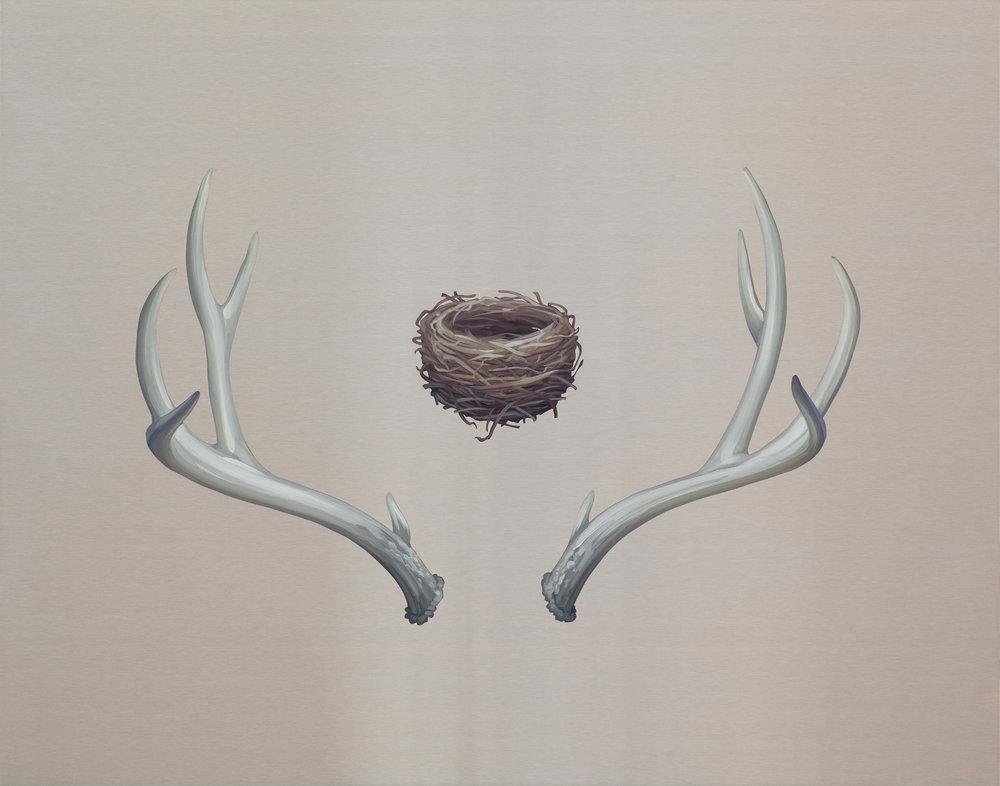 Cradle by Mai Wyn Schantz. Oil on stainless steel, 24in x 30in $2,500