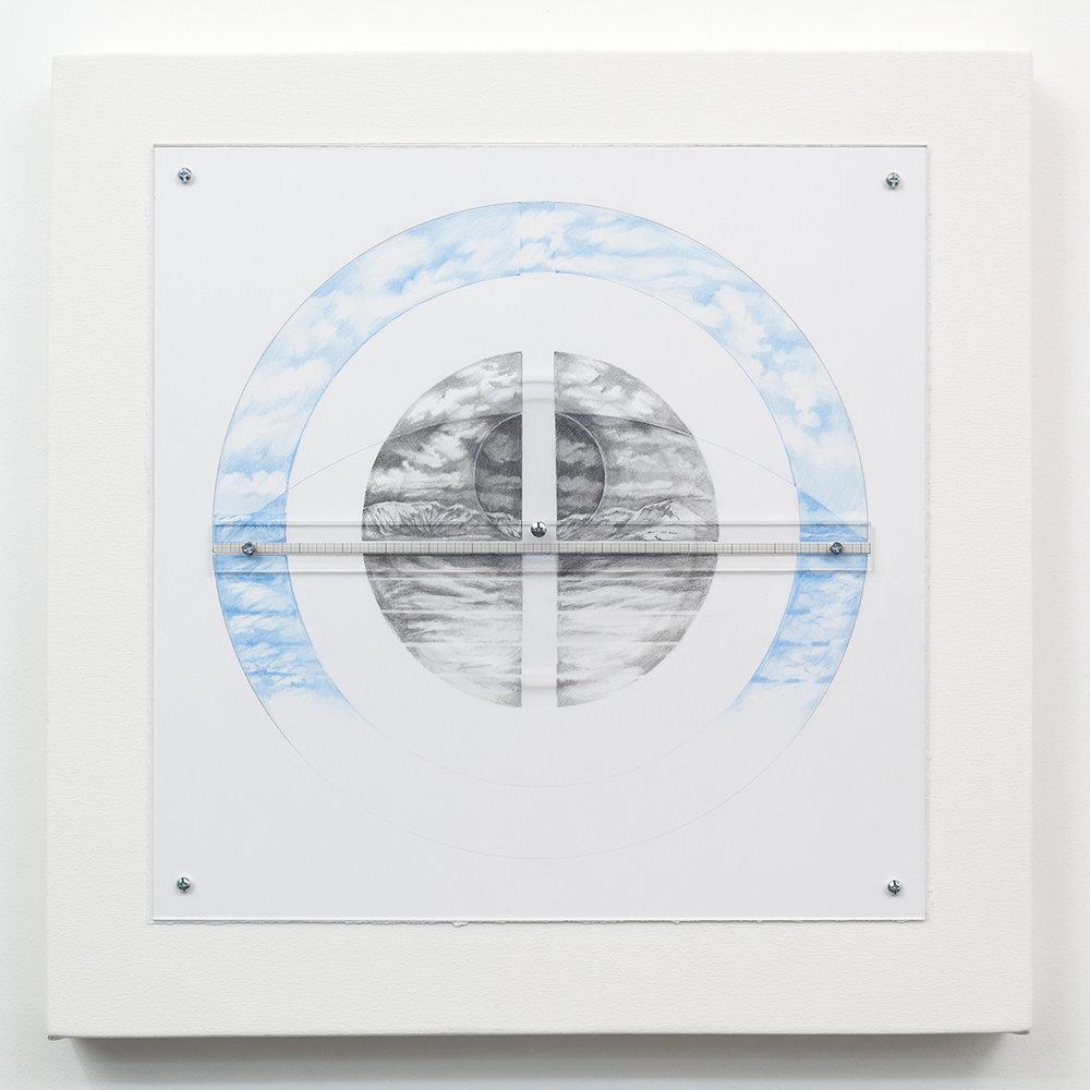 Focus, West  by Charles Parson. Plexiglas, paper, canvas, graphite, hardware, 23in x 23in