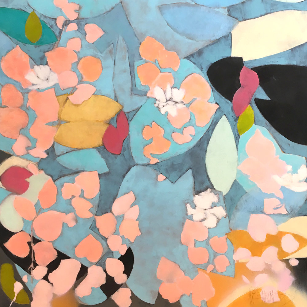 Toluka Lake  by Katharine McGuinness. Spray paint & litho ink on panel, 40in x 40in