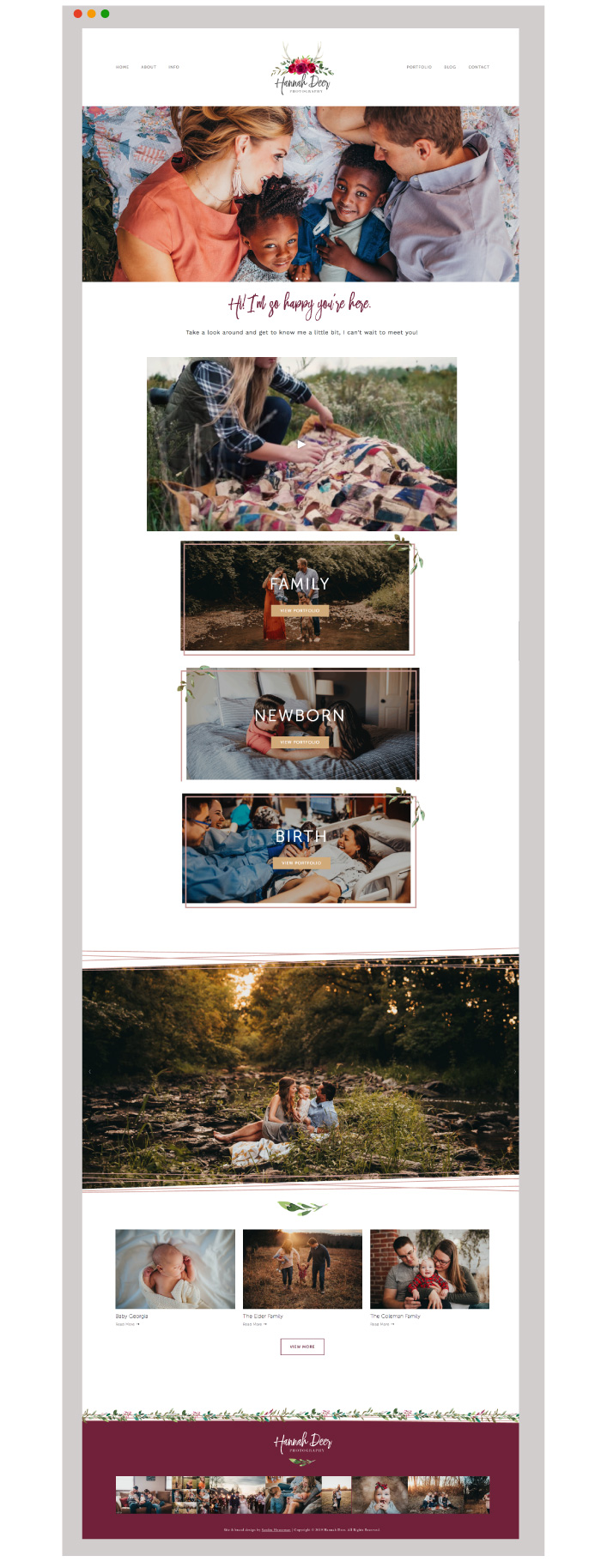 Photography Squarespace website design