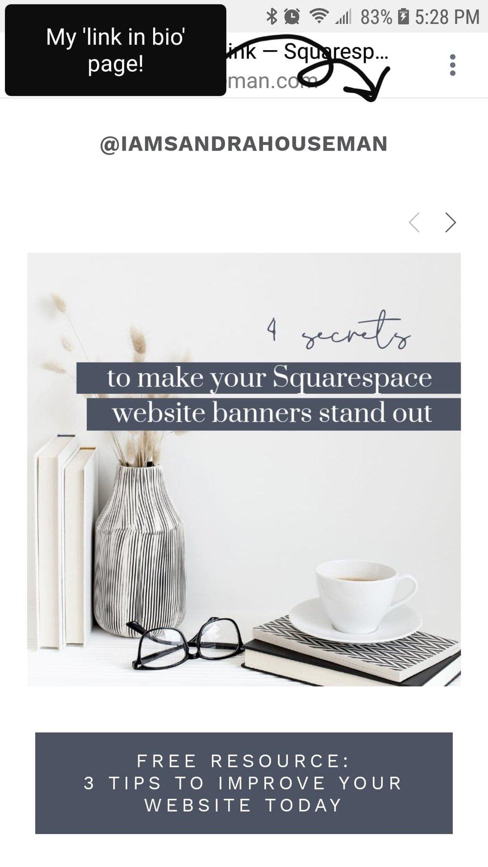 Squarespace Link in Bio Alternative