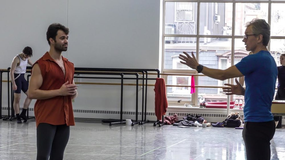 Paulo Arrais and Jorma Elo rehearsing Creatures of Egmont; photo by Ernesto Galan, courtesy Boston Ballet