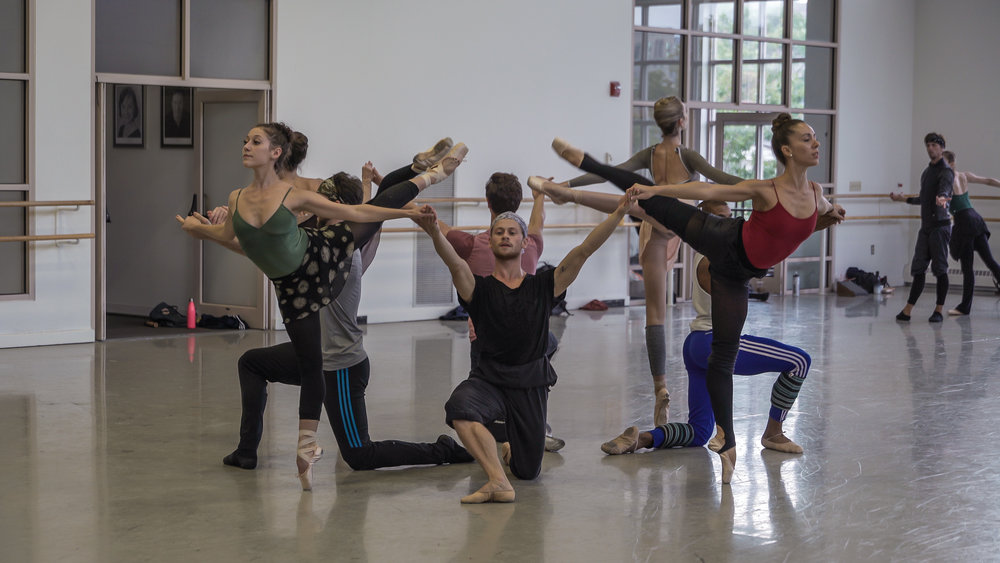 Boston Ballet rehearsing Jorma Elo's Fifth Symphony of Jean Sibelius. Photo by Ernesto Galan, courtesy of Boston Ballet.