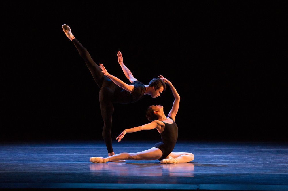 Paulo Arrais and Lia Cirio in Jorma Elo's  Bach Cello Suites;  photo by Rosalie O'Connor, courtesy Boston Ballet